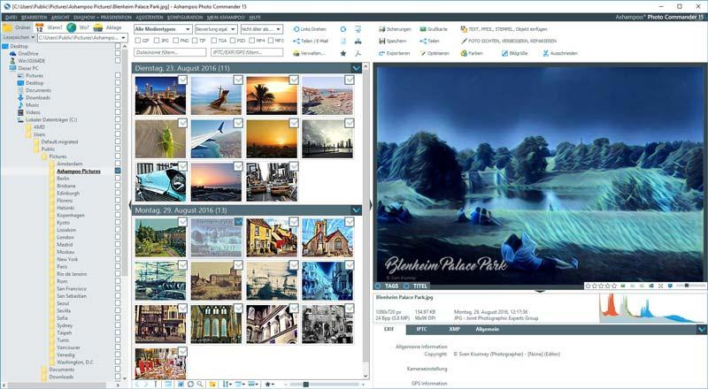 bilder verwalten software fotomanager ashampoo commander
