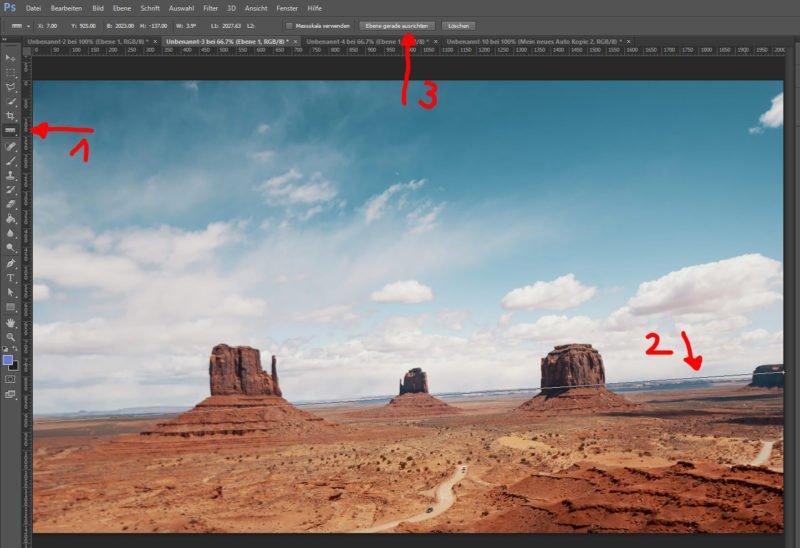 Photoshop Bild begradigen mit dem Lineal Werkzeug