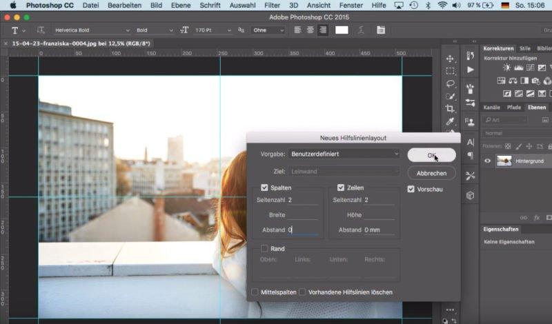 Photoshop CC Bild Mittelpunkt ermitteln