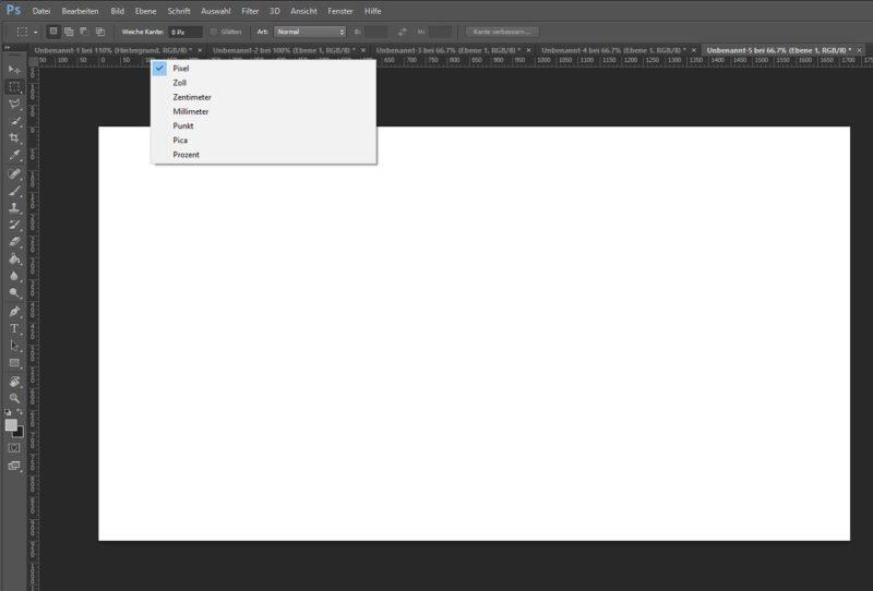 Mit Rechtsklick auf den Lineal kannst du die Masseinheit in Photoshop schnell umstellen