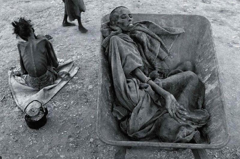 beruehmte fotos hungernde frau liegt in schubkarre