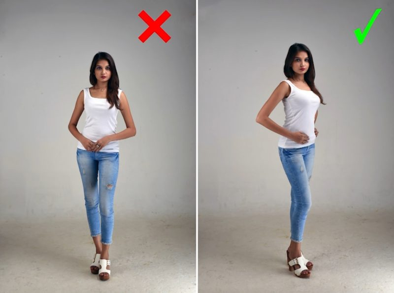 Model Posen - gute und schlechte Dreiviertel-Pose für die Frau