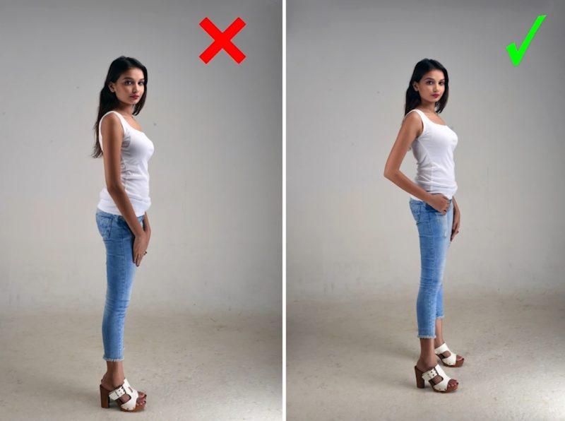 Model Posen - Gute und schlechte Frauenpose im Profil