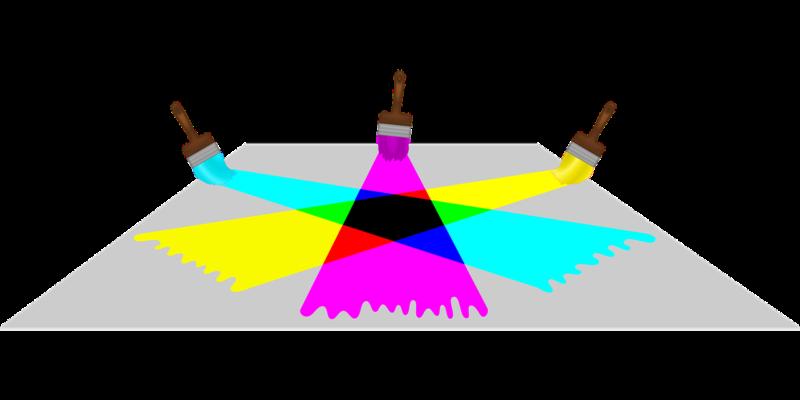 subtraktive farbmischung veranschaulicht mit pinsel und farben auf dem boden