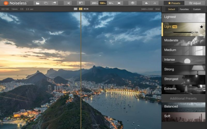 übersicht von werkzeugen in noiseless Photoshop Plugin