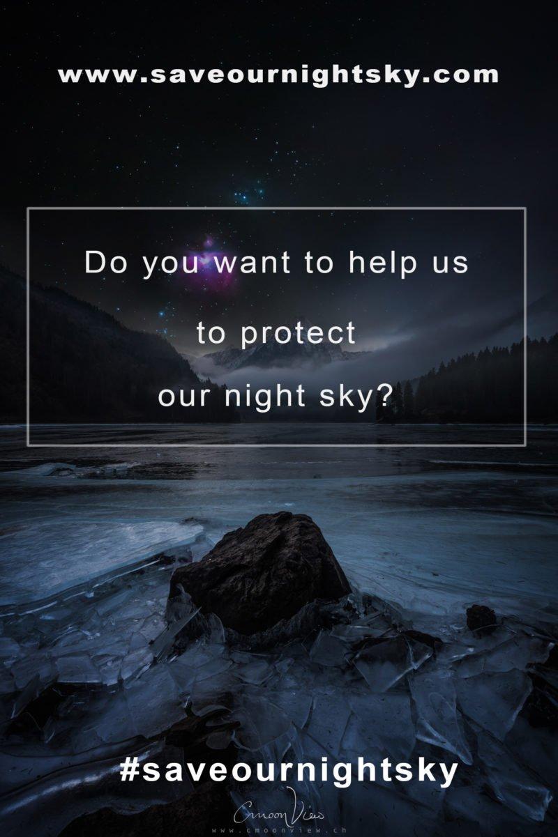 saveournightsky projekt im vordergrund und eislandschaft mit nachthimmel im hintergrund