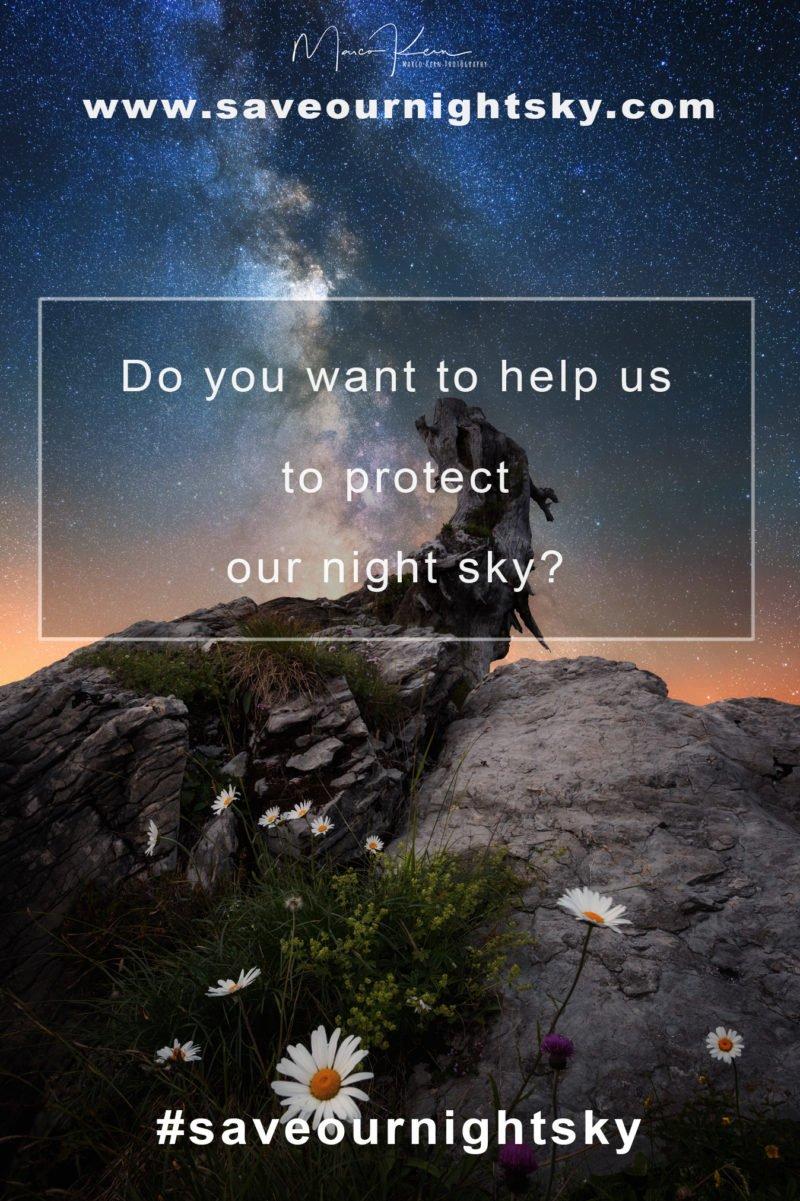 projekt saveournightsky im vordergrund mit nachthimmel im hintergrund