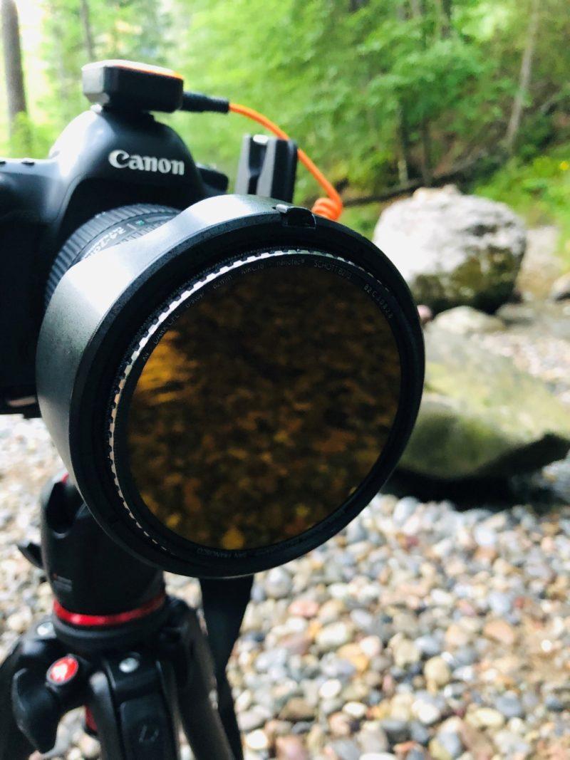 polifilter auf einer kamera