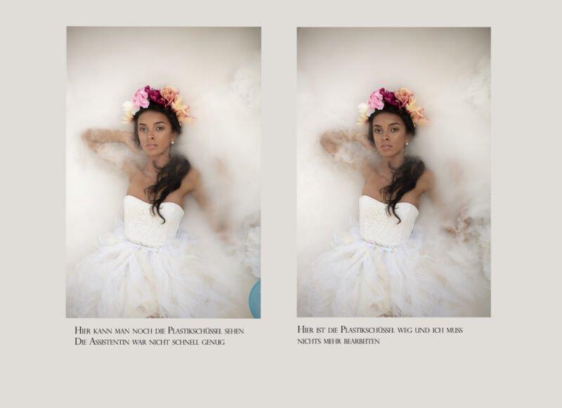 vergleich zwei fotos eines frauenportraits mit unterschiede im detail