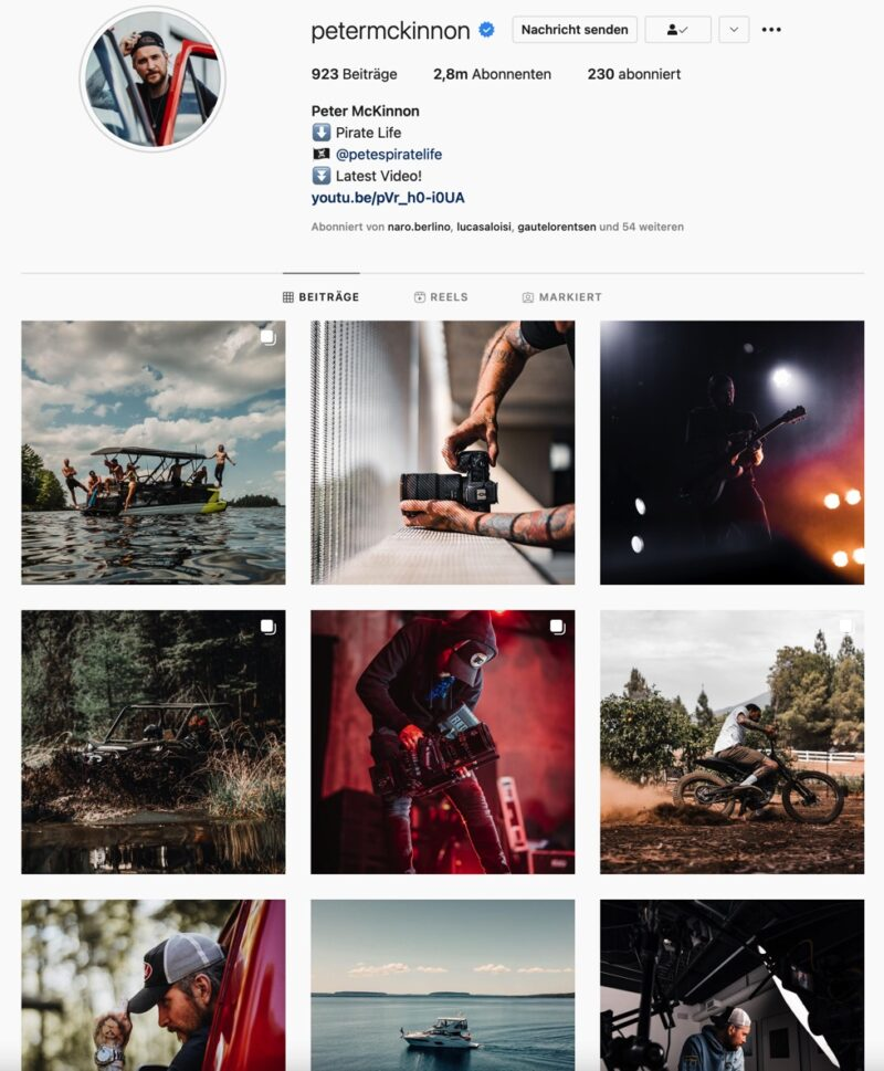 Screenshot vom Instagram Feed von Peter McKinnon